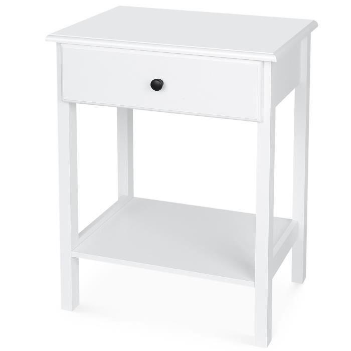 Homfa Table De Chevet Blanche Avec Tiroir Table De Nuit Bois Table
