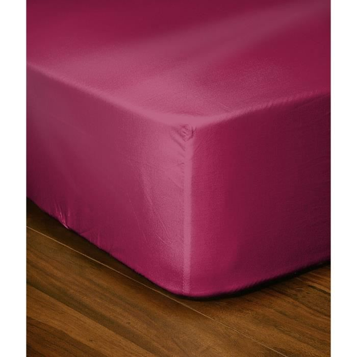 Lovely home drap housse 180x200 25 fuchsia achat vente for Draps housse 180x200
