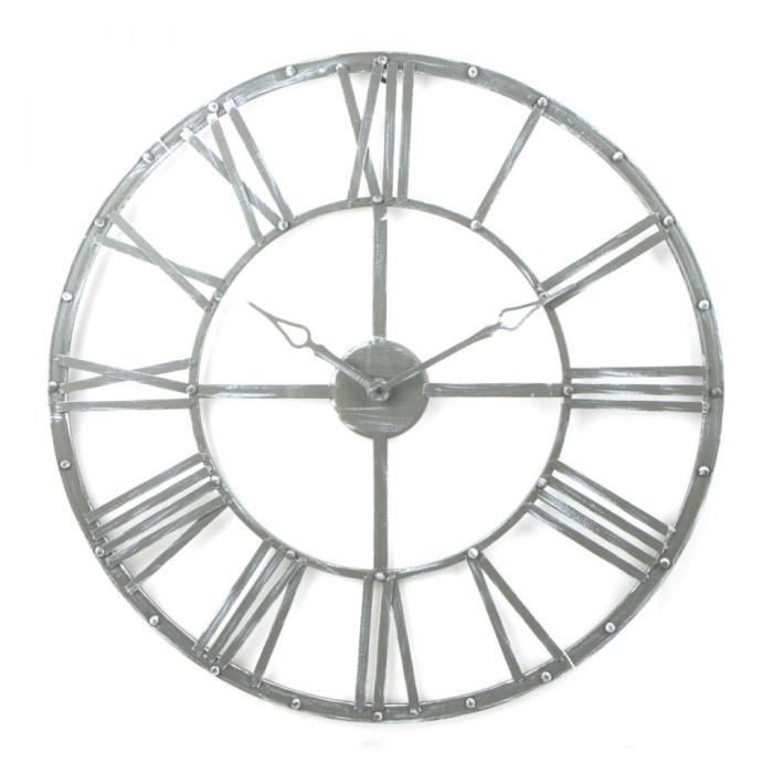 horloge murale metal vintage gris 70 cm achat vente horloge pendule cdiscount. Black Bedroom Furniture Sets. Home Design Ideas