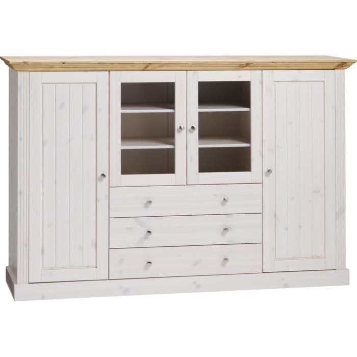 buffet en pin massif plateau teint blanc dim 123 x 186 5 x 46 5 cm achat vente buffet. Black Bedroom Furniture Sets. Home Design Ideas