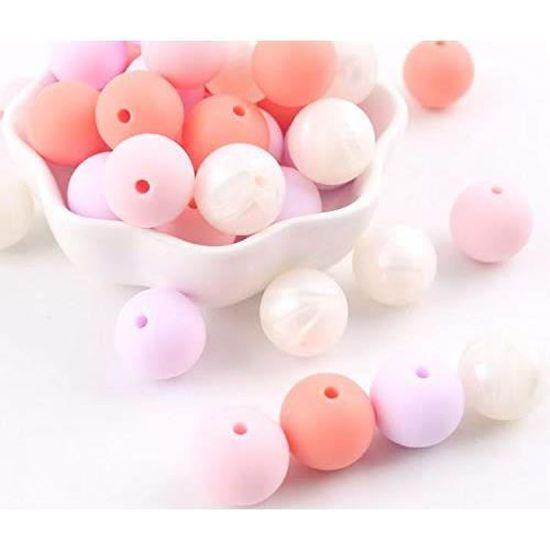 Anneaux de Dentition Personnalis/é Perles- Polygone-14 Mm Jouet /à M/âcher Bracelet B/éb/é Collier Pendentif Bricolage sans BPA Rose Manyao 10 Pcs Perles Silicone B/éb/é