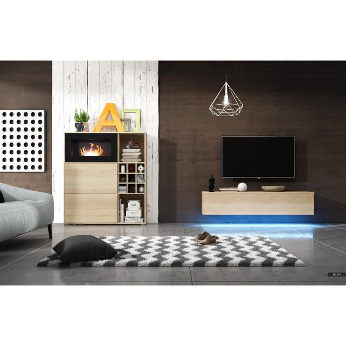 Unit murale flamme ch ne sonoma achat vente living for Nabou meuble tv mural 319x207 cm chene cendre