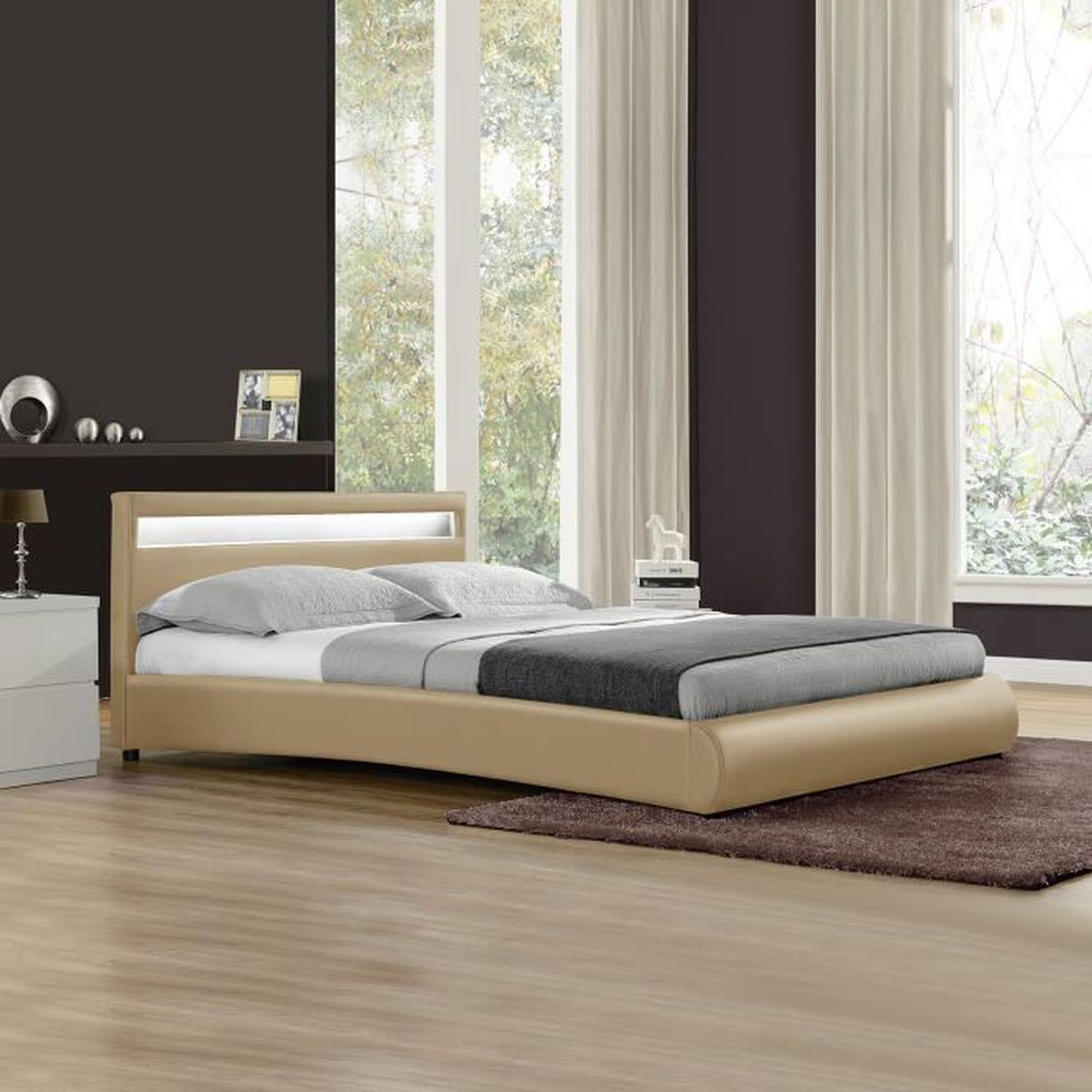 lit capitonn led de corium 39 miami 39 beige 140x200cm. Black Bedroom Furniture Sets. Home Design Ideas