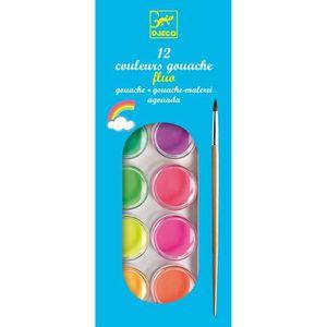 PEINTURE GOUACHE Peinture 12 pastilles de gouaches Fluo aille Uniqu