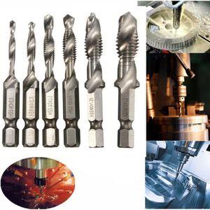 Haute Vitesse Acier M3-M10 Titane Tige Hex Combinaison Perceuse Spirale Vis Robinet Outil Nouveau