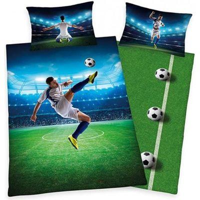 Shoot Football Soccer Simple Parure De Lit Noir Gris Enfants Garçons Réversible