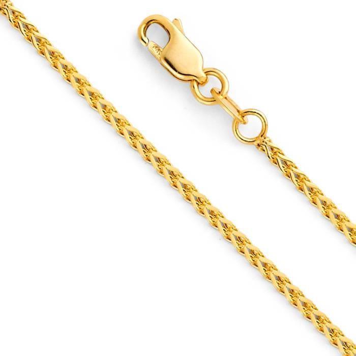 Chaine De Cou Vendue Seule Femmes Wellingsale 14k jaune ou or blanc de 1,5 mm carré creux poli Franco de chaîne R3AT6