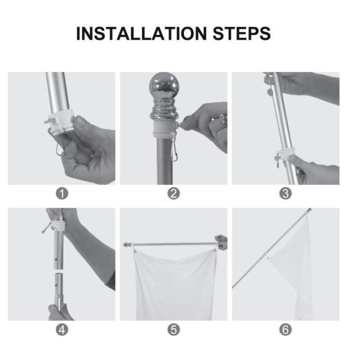 5 pièces Kit de mât de drapeau pratique anneaux de montage rotatifs 1 pouce PACK PRODUITS DE FITNESS - PACK PRODUITS MUSCULATION