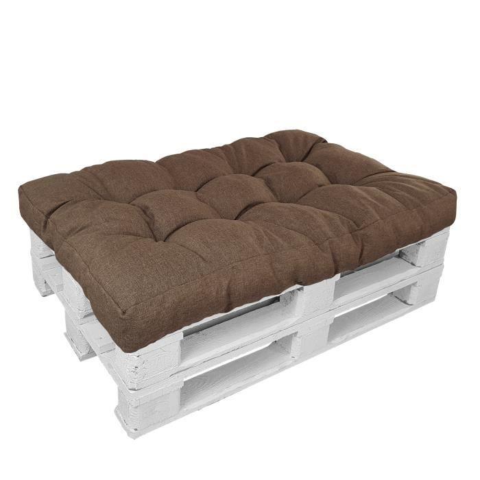 Coussin d'assise 120x80x15cm TAUPE pour Canape Euro Palette ''Premium'' - Résistants aux éclaboussures d'eau et aux rayons UV