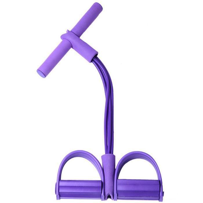 2019 élastique Pull cordes abdominales exerce-ur rameur ventre résistance bande Gym Sport - Modèle: 4 tubes purple - HSJSTLDB01015