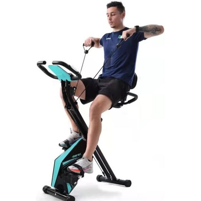 Merax Vélo d'Appartement Pliable et réglable avec LCD , 8 niveaux de résistance, charge 120kg, bleu