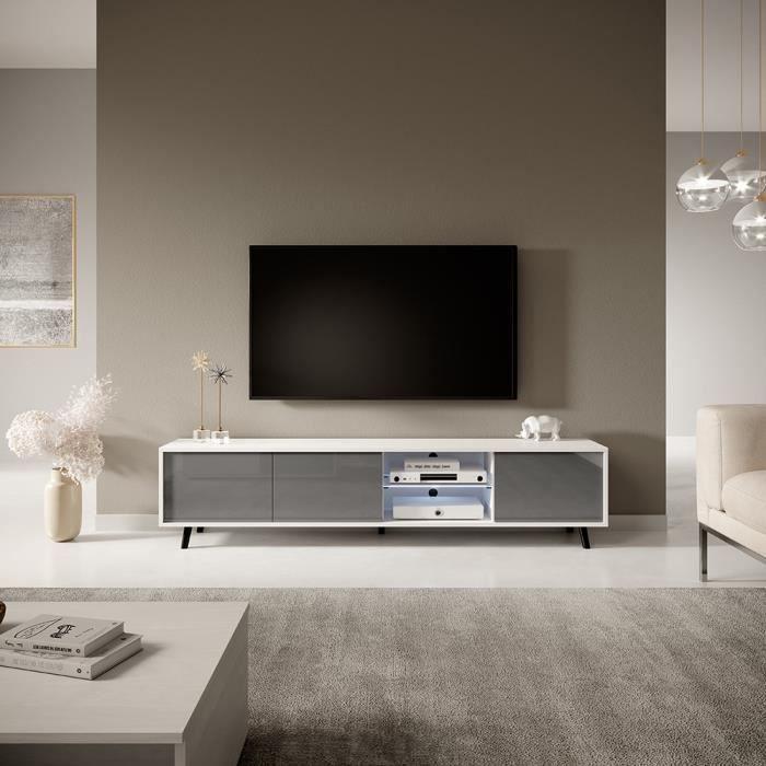 Meuble tv / Meuble de salon - GLAM - 175 cm - blanc mat / gris brillant - grande capacité de rangement - éclairage LED