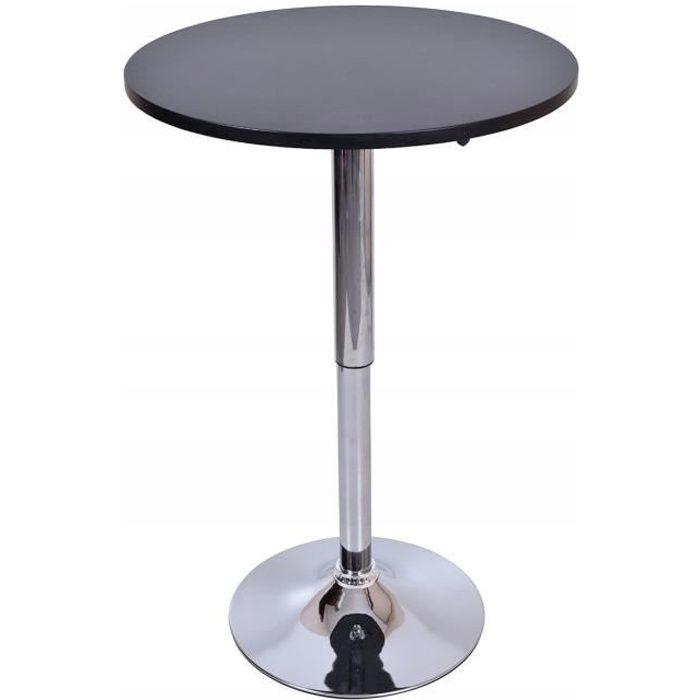 SAMBA - Table haute bar/cuisine moderne en MDF + pied chromé hauteur réglable - Table rond Mange debout bistro cafétéria - Noir