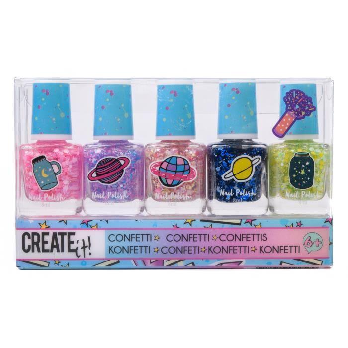 Create It! confettis de vernis à ongles multicolores filles 5 pièces
