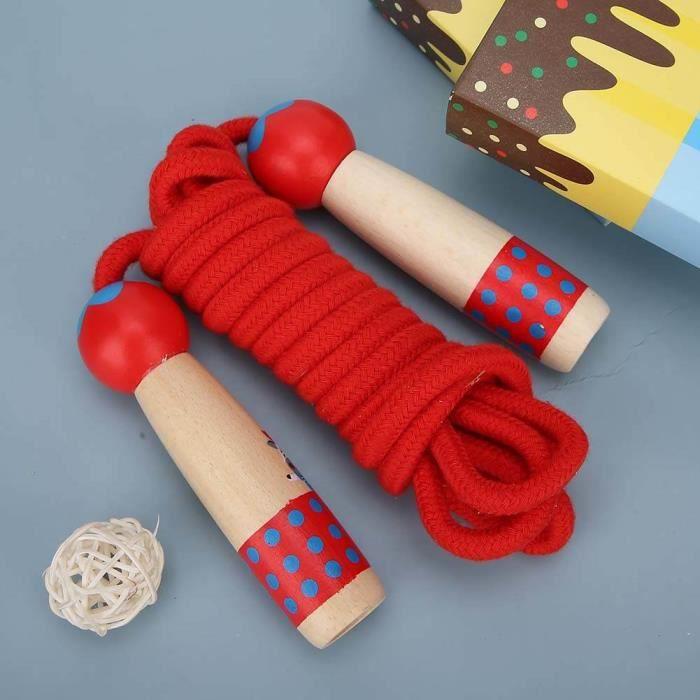 Tbest corde à sauter pour enfant Corde à sauter en bois Fitness enfants étudiant cordes à sauter jouet extérieur 3 mètres