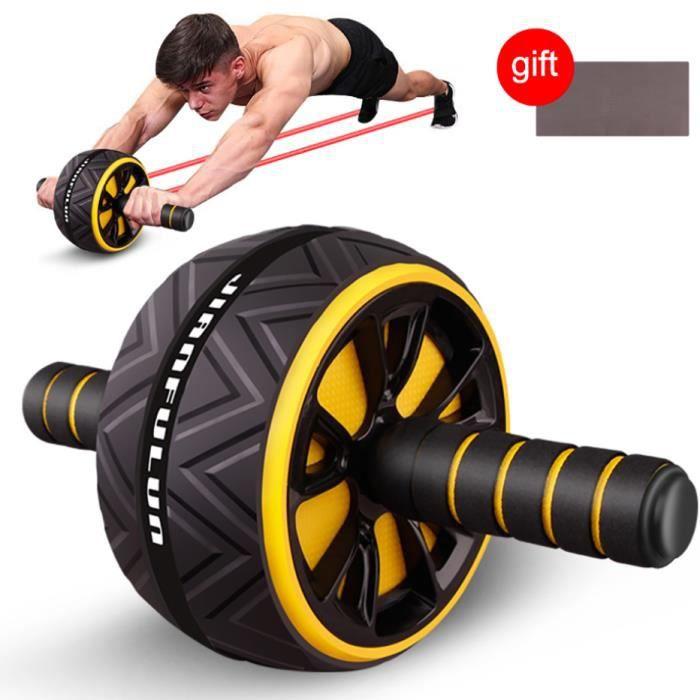 Roue Abdominale,Ab Roller Wheel,Roulette Abdominaux Exercice ,Roue de Fitness pour Musculation Sport Maison Materiel,Jaune