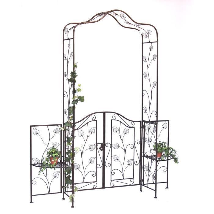 DanDiBo Arche à rose avec porte portail 101759 en métal Portail de jardin 236 x 186 cm Espalier