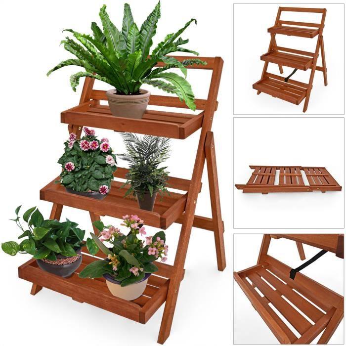Échelle à fleurs 3 étages bois d'acacia 56 x 59 x 79 cm décoration jardin balcon