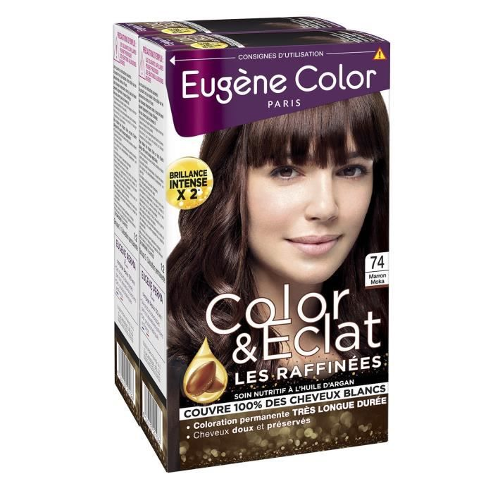 LOT DE 2 - EUGENE COLOR color & eclat nuance 74 marron moka Coloration cheveux - 2 boîtes