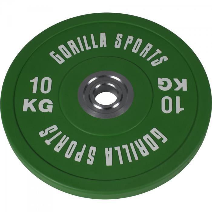 Gorilla Sports - 1 x Disque Bumper en caoutchouc renforcé Pros de 10 kg