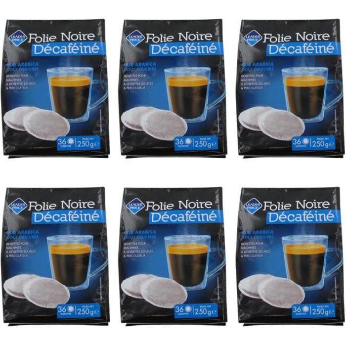 [Lot de 6] Café en dosette décaféiné folie noire pur arabica - 250g par paquet