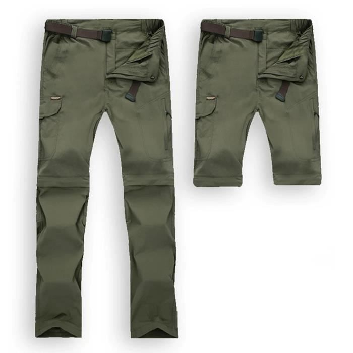 Hommes rapides Pantalons de randonnée imperméables à sec Pantalons Casual en plein air Pantalons convertibles armée verte