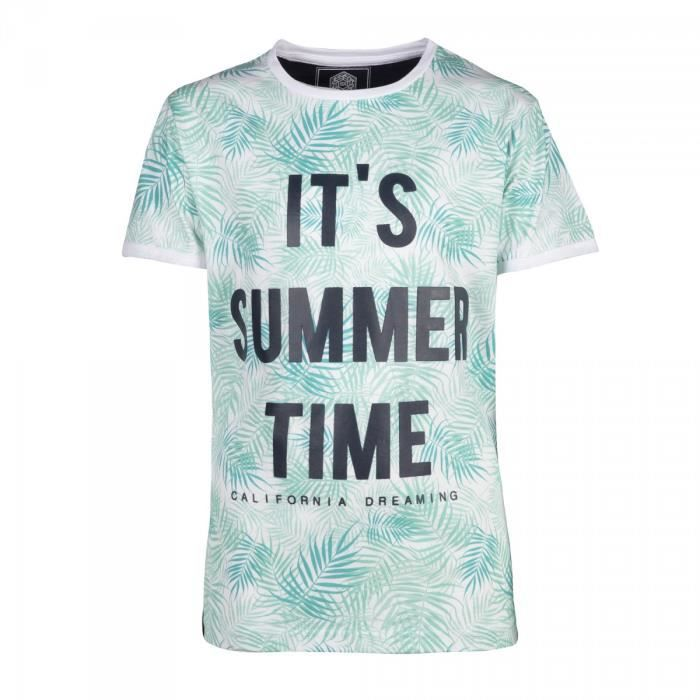 RIVALDI - T-shirt imprimé tropicale 8-16 ans - Bleu - Enfant Garçon