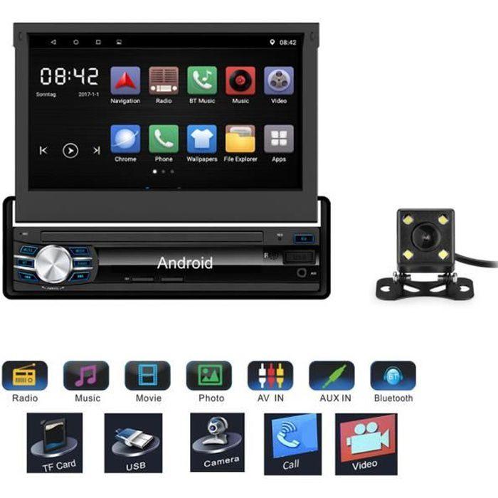 Rétractable 7- 1 DIN Android 6.0 GPS Bluetooth 1080P Autoradio Navigation Lecteur stéréo voiture entièrement écran tactile