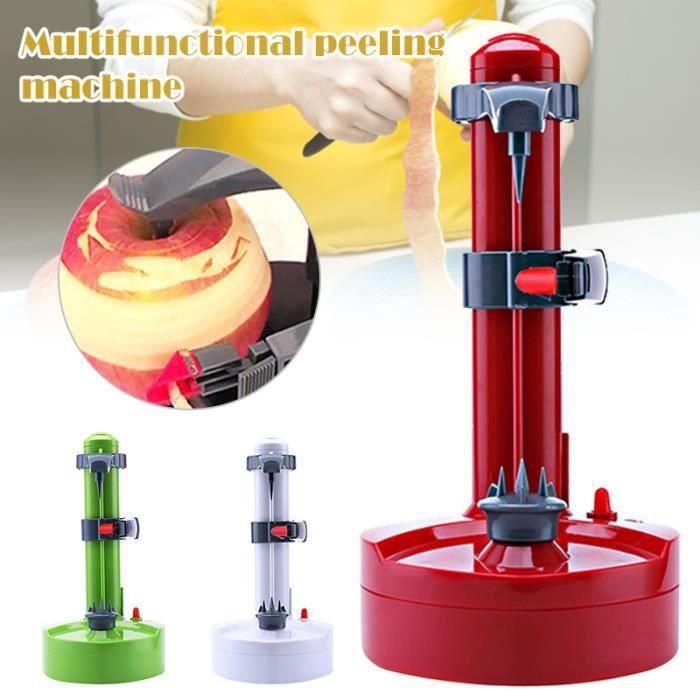 Éplucheur Electrique avec Adaptateur Multifonction Cuisine Automatique Éplucheur pour Pommes de Terre Fruits et Légumes - ROUGE