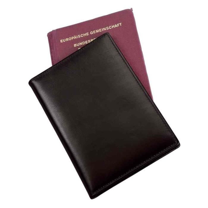 Etui Passeport RFID Document Safe Cuir Nappa No Noir Achat - Porte passeport cuir