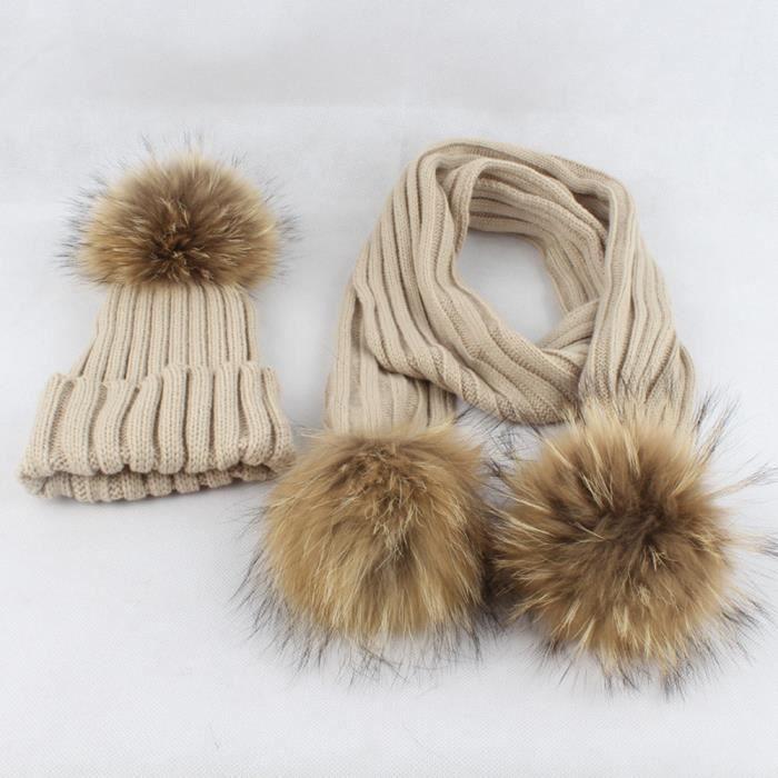 COSTUME - ENSEMBLE rine-387Bonnet tricoté boule de cheveux bonnet + é