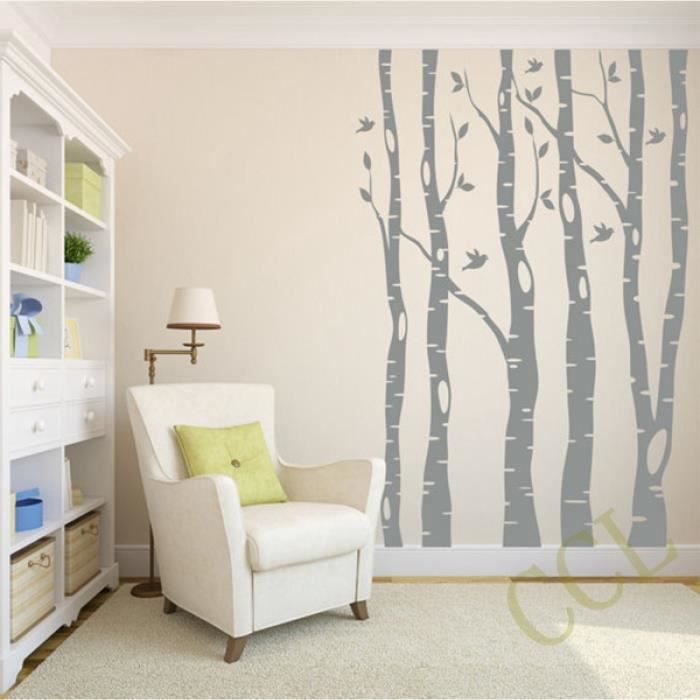 extra grand arbre stickers muraux decoration interieur grand arbre et oiseaux vinyle mur. Black Bedroom Furniture Sets. Home Design Ideas