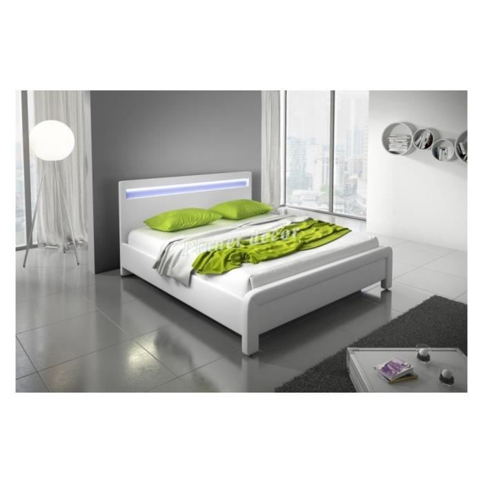 lit adulte 160x200 cm blanc en similicuir avec led livina achat vente structure de lit lit. Black Bedroom Furniture Sets. Home Design Ideas