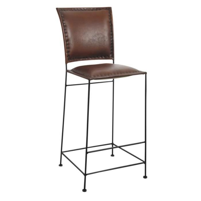 tabouret de bar en cuir et m tal achat vente tabouret. Black Bedroom Furniture Sets. Home Design Ideas