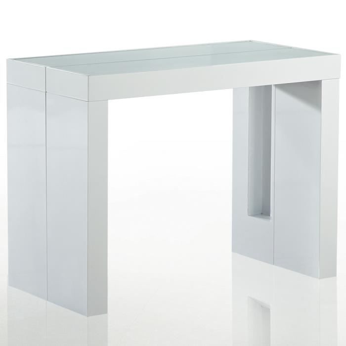Table console extensible avec rallonges integrees for Table a manger blanche avec rallonge