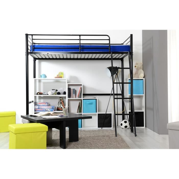 lit mezzanine noir 2 places 90x190cm m tal kangoo. Black Bedroom Furniture Sets. Home Design Ideas