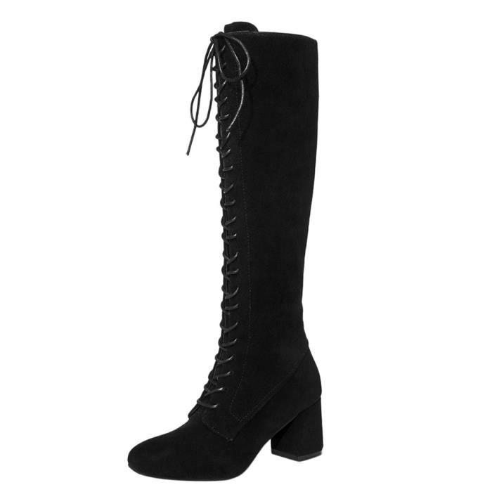 Femmes Fines Bretelles à Lacets Haut Bottes Plus Cuissardes Talons Martin Chaussures Noir Achat Vente Femmes Fines Bretelles à Pas Cher Soldes Cdiscount