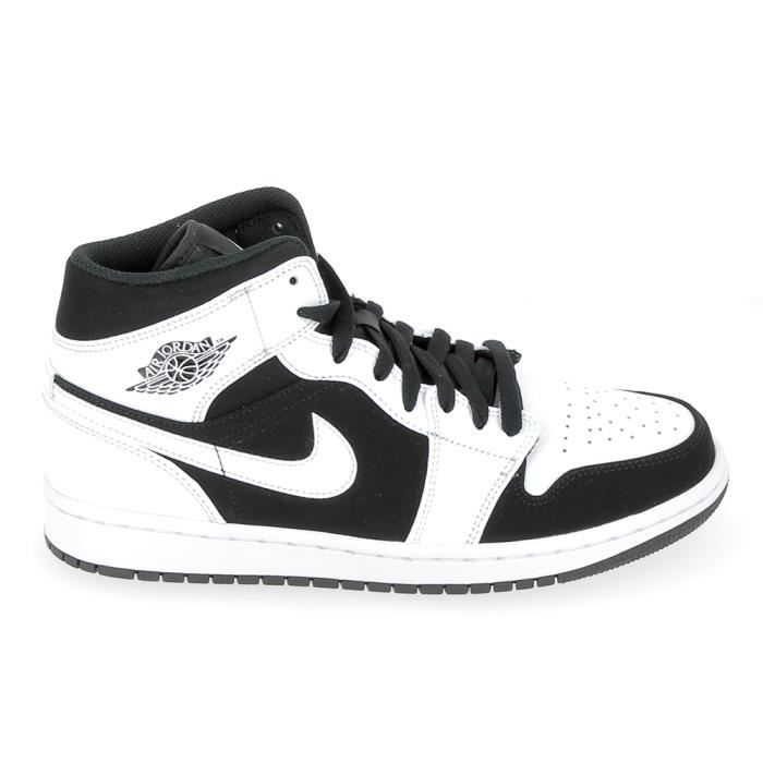 new arrivals 88450 d8cfb Basket mode - Sneakers NIKE Air Jordan 1 Mid Blanc Noir 554724-113