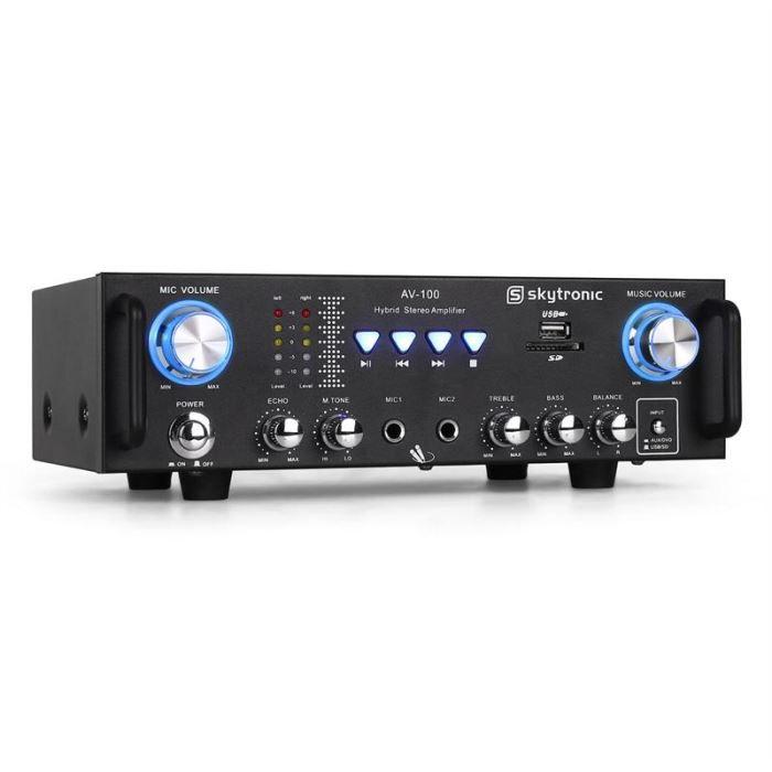 AMPLI PUISSANCE 103.208 AV-100 Ampli HiFi Karaoke SD USB MP3