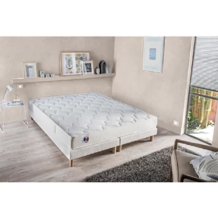 CONFORT DESIGN Ensemble matelas + sommier 160 x 200 - Latex - 16 cm - Equilibré