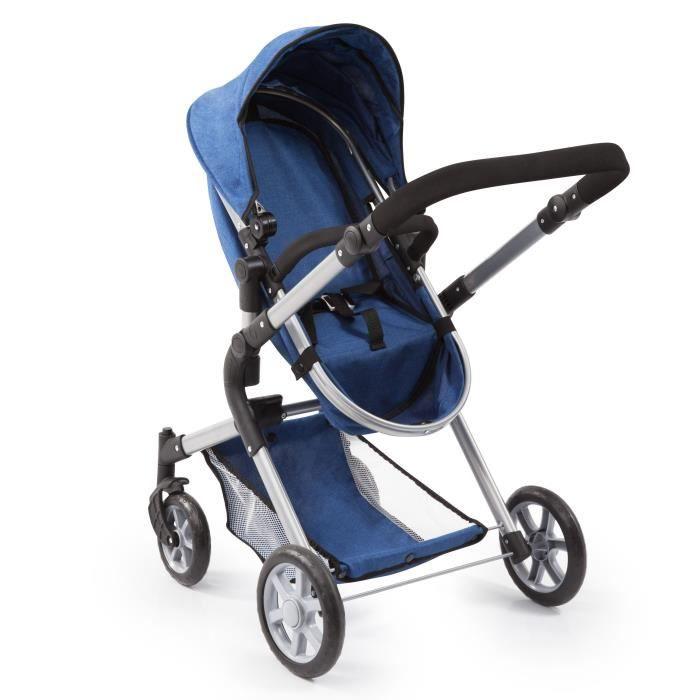 BAYER Design Landau pour poupée Neo Star bleu avec sac à bandoulière et panier d'achat intégré réglable - convertible poussette