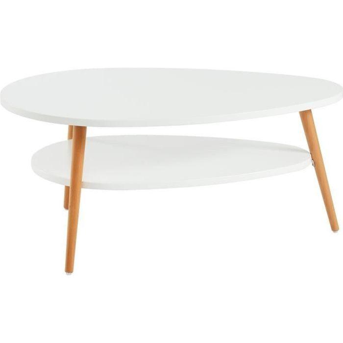 STONE Table basse ovale scandinave - Blanc laqué mat - L 90 x l 60 cm
