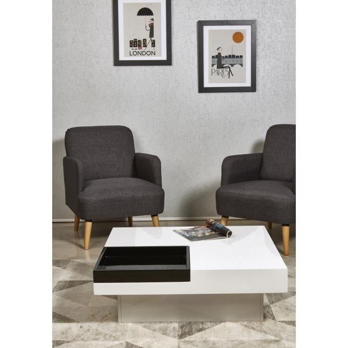 IRIGA Table basse carrée style contemporain blanc et noir laqué - L 90 x l 90 cm