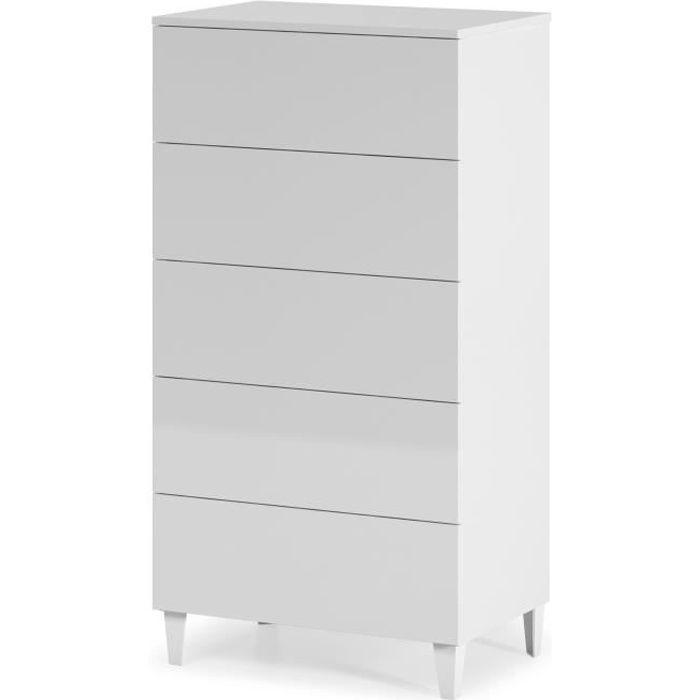 LOFT Commode de chambre 117 cm - Blanc brillant
