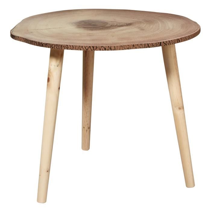 MOON Table basse style contemporain coloris naturel pieds métal - L 49 x l 48 cm