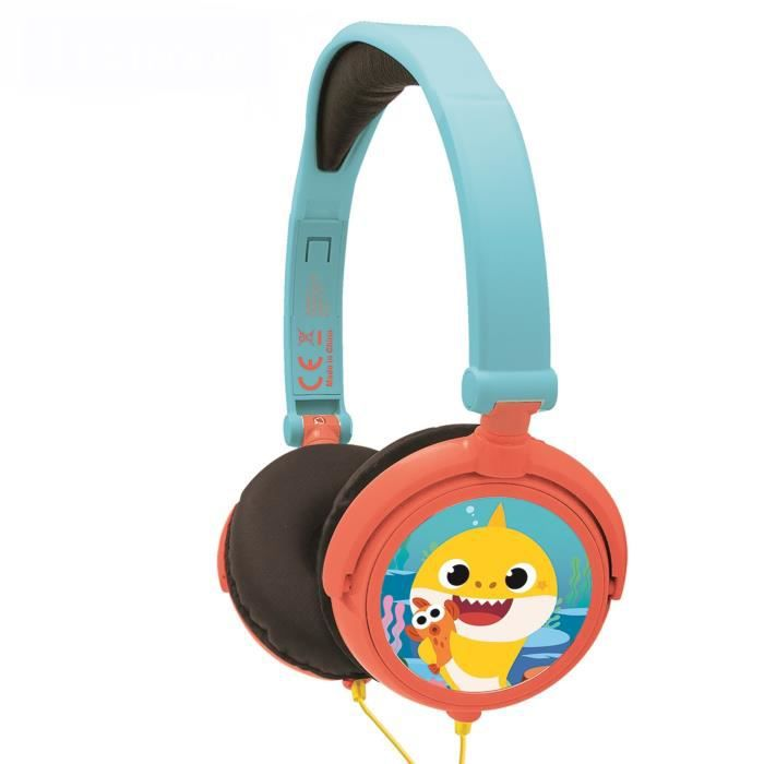 BABY SHARK Casque stéréo filaire pliable pour enfants avec limitation de volume d'écoute - LEXIBOOK