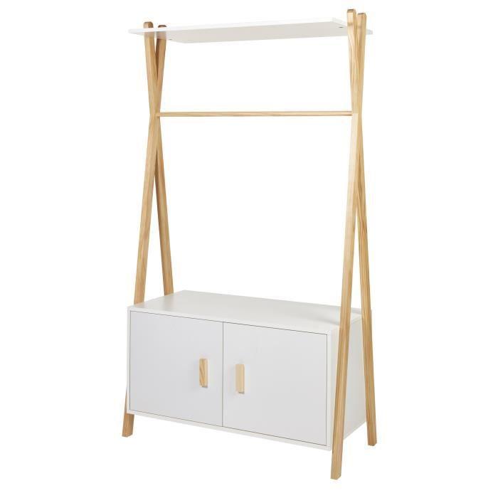 AMAROK Portant enfant - Pin massif et MDF - Blanc/naturel - Style scandinave - L 46 cm