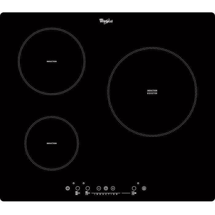 WHIRLPOOL ACM505NE Table de cuisson induction - 3 zones - 6500W - L58 x P51cm - Revêtement verre - Noir