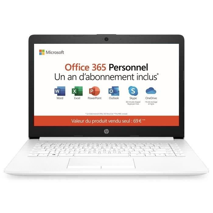 Hp pc portable 14 cm0995nf 14 hd amd a4 9125 ram 4go stockage 32go windows 10 mode s azertyoffice 365 perso inclus 1 an