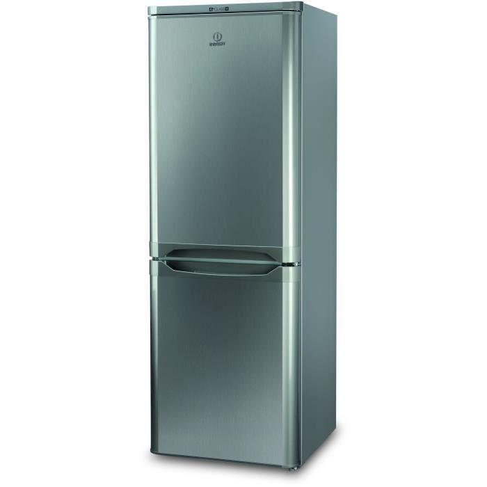 INDESIT NCAA 55 NX - Réfrigérateur congélateur bas - 217L (150+67) - Froid statique - L 55cm x H 157cm - Inox